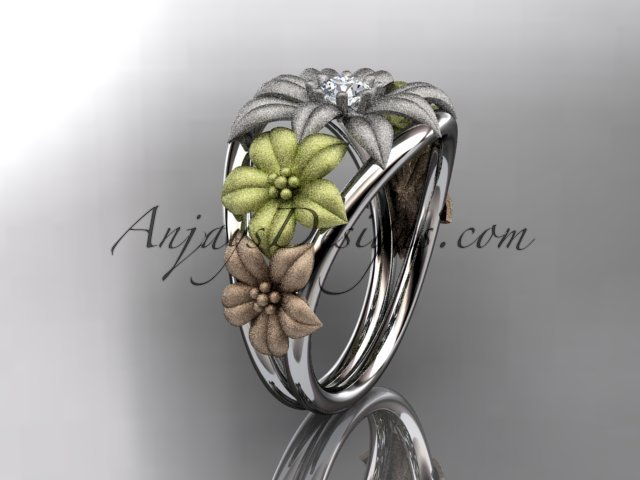 14kt tri color gold diamond floral wedding ring, engagement ring, wedding band.ADLR170