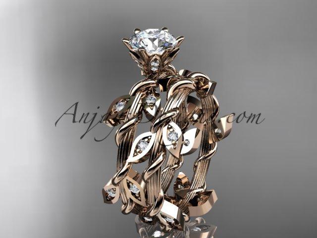 14k rose gold diamond leaf and vine engagement ring,engagement set ADLR20S
