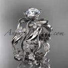 14kt white gold diamond leaf and vine wedding ring,engagement ring ADLR188