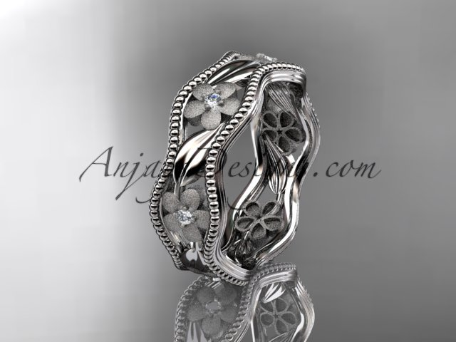 14kt white gold diamond flower wedding ring,engagement,wedding band. ADLR 190