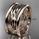 14kt rose gold leaf and vine wedding ring,engagement ring,wedding band ADLR293