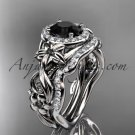 Platinum diamond engagement set, wedding set with a Black Diamond center stone ADLR300