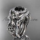 14kt white gold diamond engagement set, wedding set with a Black Diamond center stone ADLR300