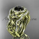 14kt yellow gold diamond engagement set, wedding set with a Black Diamond center stone ADLR300