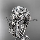 14kt white gold diamond engagement set with a Forever One Moissanite center stone ADLR300