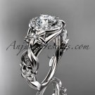 14kt white gold diamond unique engagement ring with  Moissanite center stone ADLR300
