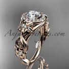 14kt rose gold diamond unique engagement ring with  Moissanite center stone ADLR300