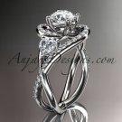 Unique 14kt white gold diamond engagement ring, wedding band ADLR320