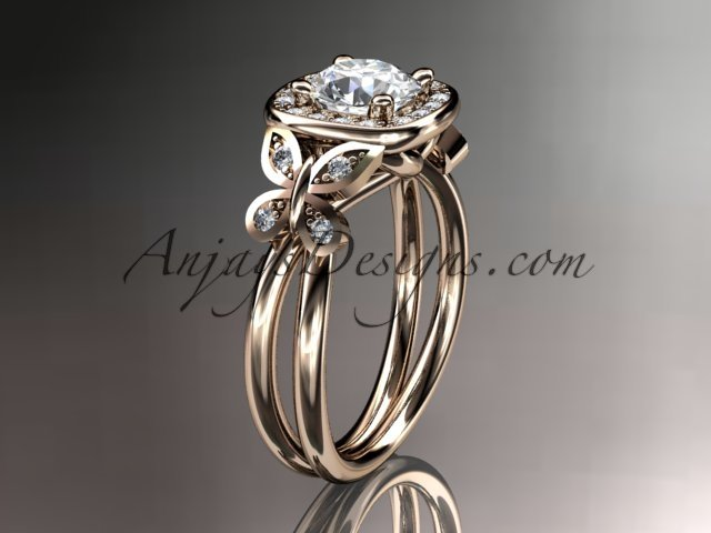 14kt rose gold  engagement ring, with a moissanite center stone ADLR330
