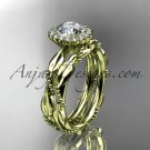 14kt yellow gold diamond leaf and vine wedding set, engagement set ADLR337