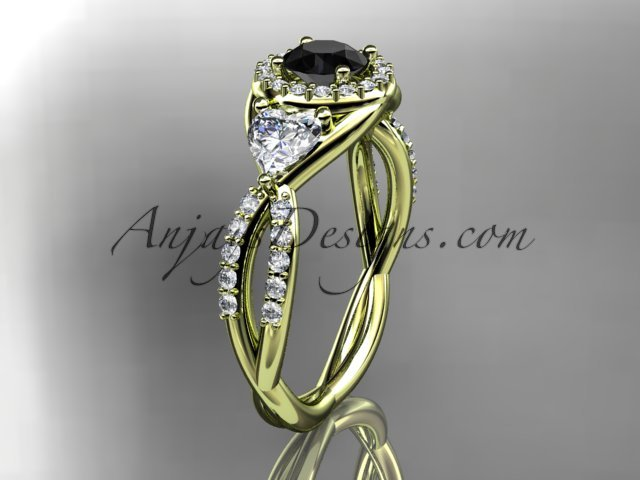 14kt yellow gold diamond engagement ring, wedding band with a Black Diamond center stone ADLR321