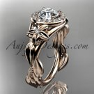 14kt pink gold unique engagement ring with moissanite center stone ADLR327