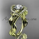 14kt yellow gold diamond unique engagement ring,with moissanite center stone ADLR326