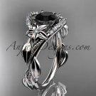 4kt white gold diamond unique engagement ring,wedding ring with black diamond center stone ADLR326
