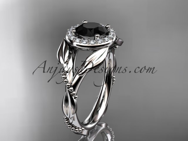 14kt white gold engagement ring with black diamond center stone ADLR328