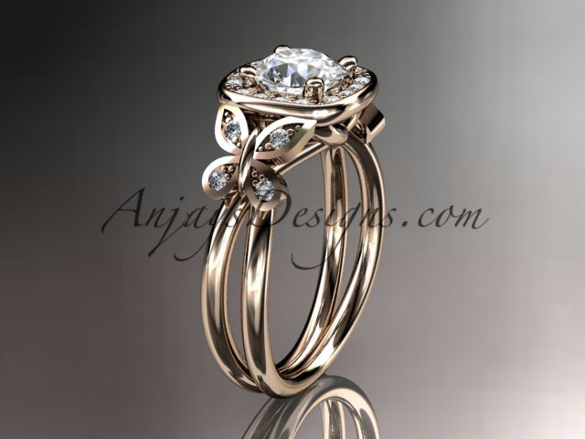 14kt rose gold diamond unique butterfly engagement ring,wedding ring ADLR330