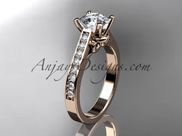 14kt rose gold diamond unique engagement ring,wedding ring ADER134