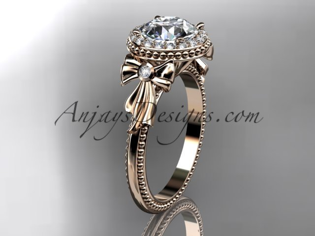14kt rose gold diamond unique engagement ring,wedding ring ADER157