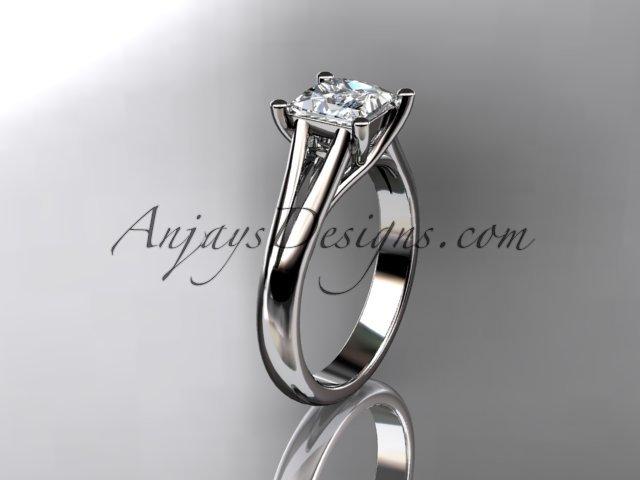 Platinum diamond unique engagement ring,wedding ring, moissanite center stone ADER143