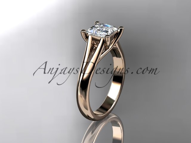 14kt rose gold diamond unique engagement ring,wedding ring,  with moissanite center stone ADER143