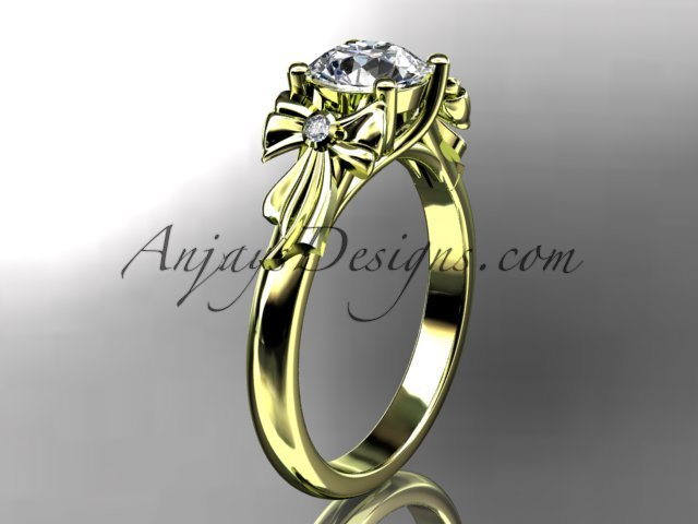 14kt yellow gold diamond unique engagement ring,wedding ring with moissanite center stone ADER154