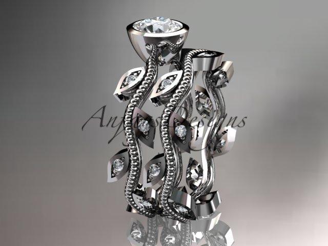 14k white gold diamond leaf and vine wedding ring, engagement ring, engagement set ADLR213