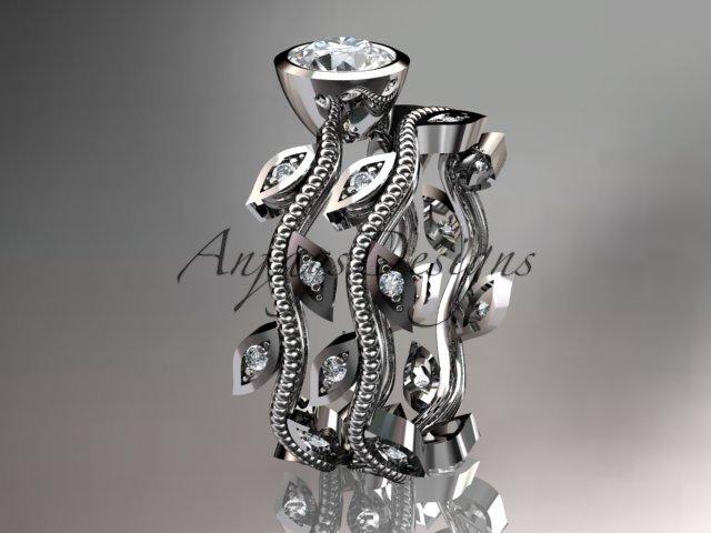 Platinum diamond leaf and vine wedding ring, engagement ring, engagement set ADLR213