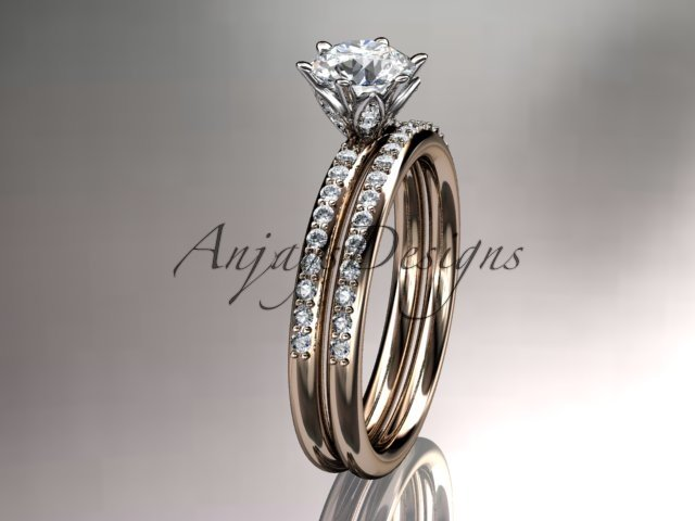14kt rose gold diamond unique engagement ring,wedding ring ADER145S
