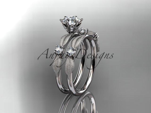 14kt white gold diamond unique leaf and vine engagement ring,wedding ring ADER177S