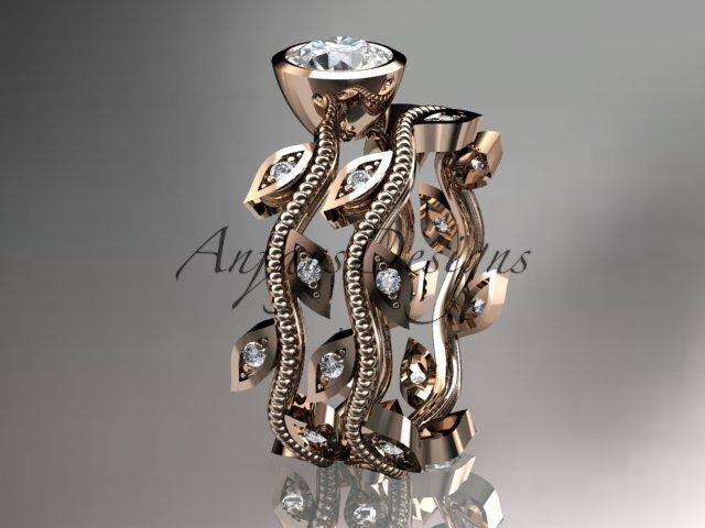 14k rose gold diamond leaf and vine wedding ring, engagement ring, engagement set ADLR213