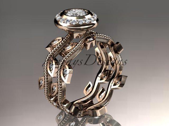 14k rose gold diamond leaf and vine wedding ring, engagement ring, engagement set ADLR212