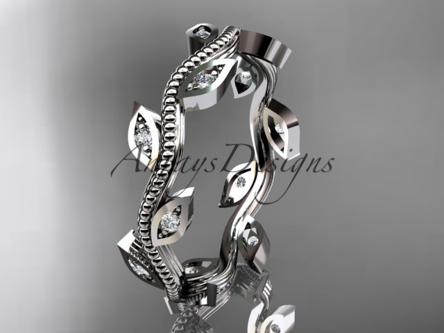 14kt white diamond leaf and vine wedding ring,engagement ring,wedding band ADLF001