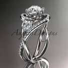 Unique 14kt white gold diamond moissanite engagement ring ADLR320