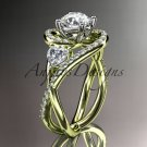 Unique 14kt yellow gold diamond moissanite engagement ring ADLR320