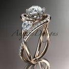 Unique 14kt rose gold diamond moissanite engagement ring ADLR320