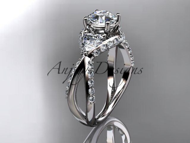 14kt white gold diamond  engagement ring with a Forever One Moissanite center stone ADLR318