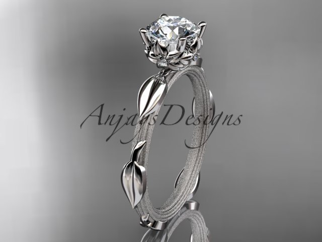 Platinum diamond vine and leaf wedding ring, engagement ring ADLR290