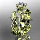 14kt yellow gold diamond leaf and vine wedding ring, engagement ring ADLR264