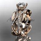14kt rose gold diamond leaf and vine wedding ring, engagement ring ADLR264