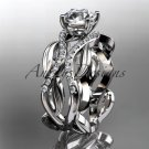 14kt white gold diamond leaf and vine wedding ring, engagement ring ADLR264
