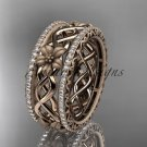 14k rose gold diamond flower wedding ring, engagement ring ADLR260