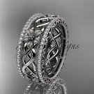 Platinum diamond flower wedding ring, engagement ring ADLR260