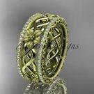 14k yellow gold diamond flower wedding ring, engagement ring ADLR260