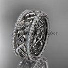 14k white gold diamond flower wedding ring, engagement ring ADLR260