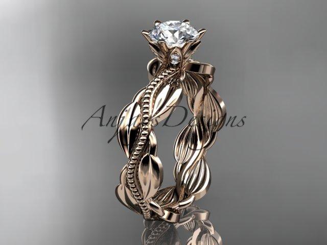 Unique 14k rose gold leaf and vine engagement ring,wedding band ADLR258