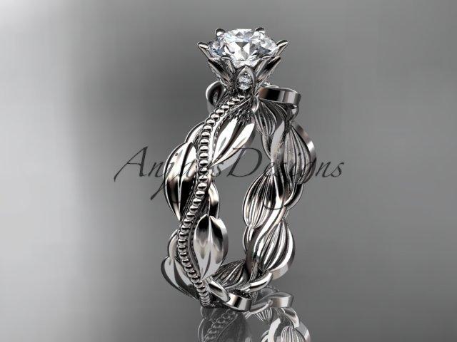 Unique Platinum leaf and vine engagement ring,wedding band ADLR258