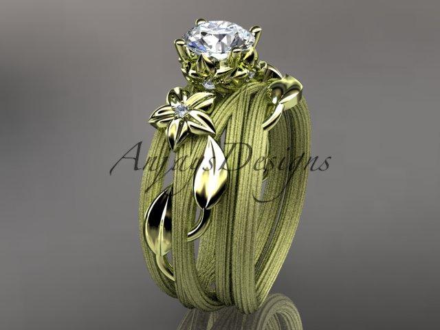 14kt yellow gold diamond floral,leaf and vine wedding set,engagement set ADLR253S