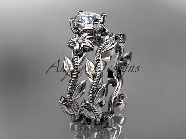Unique platinum diamond floral wedding ring, engagement set ADLR238