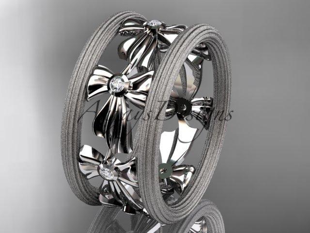 Unique Platinum diamond bow wedding ring, engagement ring ADLR236