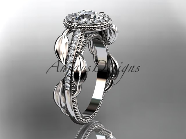 14kt white gold diamond unique engagement ring, wedding ring ADLR229